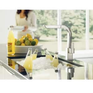 Moen 90 Degree™ Single Handle Pull Out Kitchen Faucet in Classic Stainless MS7597CSL