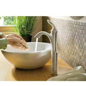 Moen Eva™ Single Handle Monoblock Bathroom Sink Faucet in Brushed Nickel M6400BN