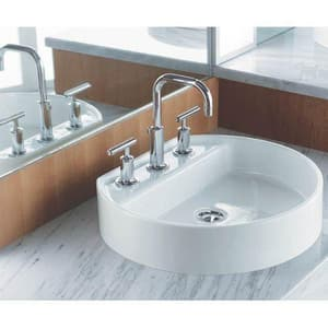 Kohler Purist® 3-Hole Deckmount Widespread Lavatory Faucet with Double Lever Handle in Vibrant Polished Nickel K14406-4-SN