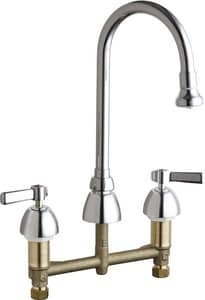 Chicago Faucet 2.2 gpm Double Lever handle Deckmount Kitchen Sink Faucet 1/2 in. NPSM Connection in Polished Chrome C201AGN2AE3ABCP