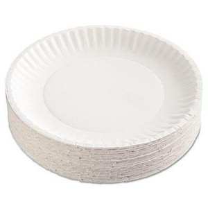 9 in. Paper Plate with Green Label in White (Case of 100) AJMPP9GRAWH