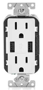 Leviton Decora® 15 AMP USB Charger and Tamper Resistant Receptacle in White LT5632W