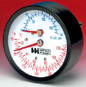 Weiss Instruments 75 psi 2-1/2 x 1/4 in. Rear Water Guage WCTP25R