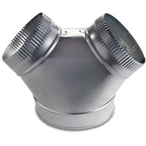 Royal Metal Products 6 in. x 4 in. x 4 in. 30 ga Galvanized Steel Bullhead Wye SHMY30UPP