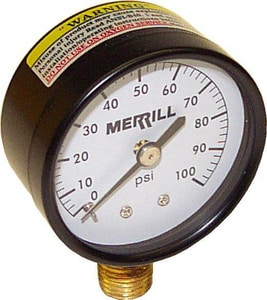 Merrill Manufacturing 2 in. 0-100 psi Brass Pressure Gauge MPG100