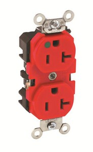 Leviton 20A 125V Straight Blade Slim Receptacle in Red L8300HR