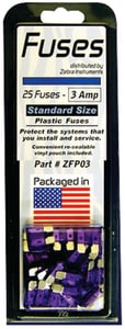 Zebra Instruments 3 Amp 25-Bag Plastic Fuse ZZFP
