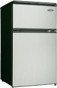 Danby Products Danby® 18-11/16 in. 3 cf Double Door Refrigerator with Freezer in Stainless Steel DDCRM31BSLDD