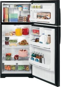 General Electric Appliances 16.5 cf Top Freezer Refrigerator in Black GGTH17DBDBB