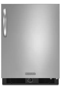 Kitchenaid Architect® 5.7 CF Undercounter Refrigerator With Right Swing Door in Black/Stainless Steel KKURS24RSBS