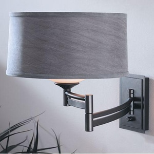 Hubbardton Forge Forged Bar 13 in. 1-Light Swing Arm Wall Sconce in Dark Smoke with Opal Glass Shade H209310R07313G