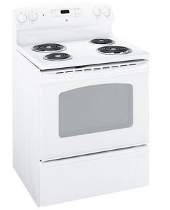 General Electric Appliances 29-7/8 in. 5.3 cf 4-Burner Self-Cleaning Freestanding Electric Range in White GJBP28DRWW