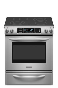 Kitchenaid Architect® 30 in. 40 A 4-Element Electric Slide-In Range in Stainless Steel KKESS907SSS