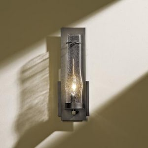 Hubbardton Forge New Town 12-3/5 in. 1-Light Wall Sconce in Bronze with Seeded Clear Glass Shade H2042501001