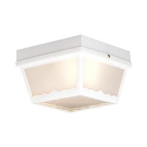 Thomas Lighting 60 W 2-Light Outdoor Semi-Flush Mount Ceiling Fixture in Matte White TSL7598