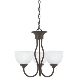 Thomas Lighting Tahoe 17 in. 100 W 3-Light Medium Chandelier with Alabaster Glass in Painted Bronze TSL801463