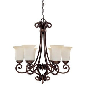 Capital Lighting Fixture Cumberland 26-3/4 in. 60 W 6-Light Medium Chandelier in Burnished Bronze C3026BB251