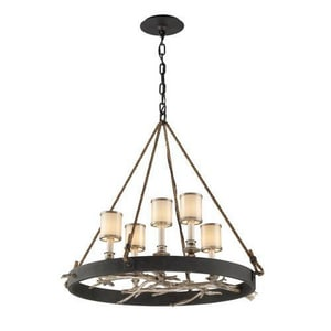 Troy-CSL Lighting Drift 60W 5-Light Pendant in Bronze with Silver Leaf Finish TF3446