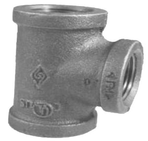 1/2 x 1/2 x 1/8 in. 150# Reducing Black Coated Malleable Iron Tee IBTDDA