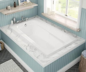 Maax US Tempest 60 x 36 in. Acrylic Drop-In Rectangle Bathtub with Right Drain in White M100103000001000