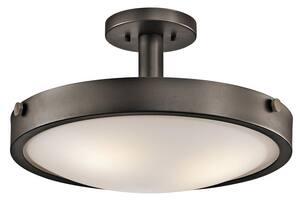 Kichler Lighting 17-1/2 in. 100W 3-Light Convertible Semi-Flushmount Ceiling Light in Olde Bronze KK42245OZ
