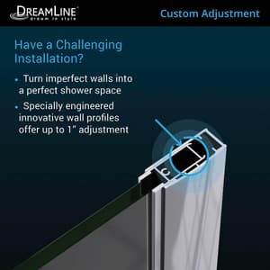 Dreamline® Unidoor 59 in. Frameless Hinged Shower Door with Tempered Glass DSHDR20587210S