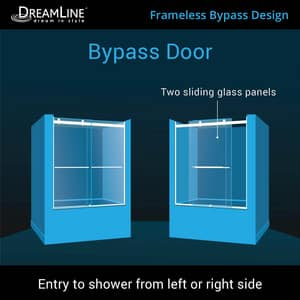 Dreamline® Essence 60 in. Frameless Bypass Tub and Shower Door with Clear Tempered Glass DSHDR6360600