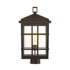 Park Harbor® Ambler High Outdoor Single Head Post Light with Seedy Glass Shade in Oil Rubbed Bronze PHEL3303ORB