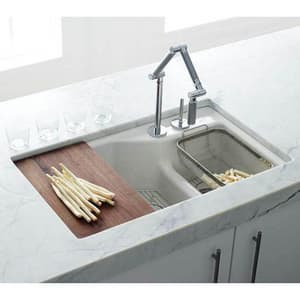 Kohler Karbon® 1.5 gpm Single Lever Handle Deckmount Kitchen Sink Faucet High Arc Spout Flexible Connection in Vibrant Brushed Bronze K6227-C15-BV