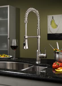 American Standard Pekoe® 1-Hole Deckmount Pre-Rinse Kitchen Faucet with Single Lever Handle in Polished Chrome A4332350F15002