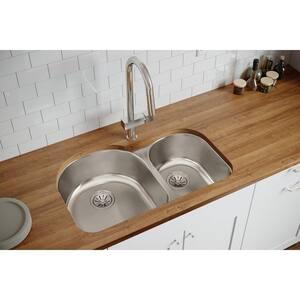 Elkay Harmony™ 31-1/2 x 20 x 7 in. 70/30 Double Bowl Undermount Sink Lustrous Highlighted Satin EELUH3119R