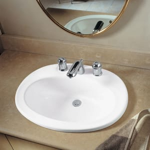 American Standard Piazza Drop-In Lavatory Sink in White A0478803020