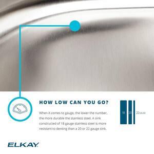 Elkay Gourmet® 28 x 16 in. Single Bowl Undercounter Kitchen Sink Stainless Steel EELUH281612