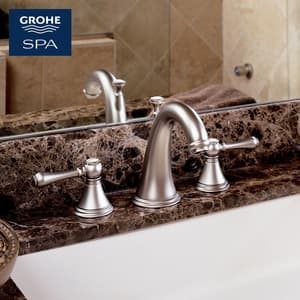 Grohe Geneva™ 3-Hole Double Lever Handle Roman Tub Faucet Deckmount (Less Handle) G25054