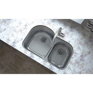 Elkay Harmony™ 2-Bowl Undermount Sink in Lustrous Highlighted Satin EELUH311910R