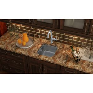 Elkay The Mystic® Single Bowl Stainless Steel Undercounter Kitchen Sink in Hammered Mirror ESCUH1416SH