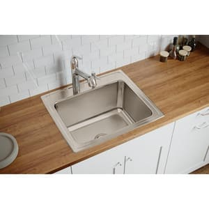 Elkay Gourmet® MR2-Hole 1-Bowl Topmount Kitchen Sink with Center Drain EDLR252212MR2