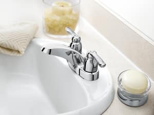 Moen Chateau® Centerset Lavatory Faucet with Double Lever Handle 50/50 Waste Assembly M4925