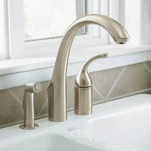 Kohler Forte® 1.5 gpm Single Lever Handle Deckmount Kitchen Sink Faucet High Arc Spout 3/8 in. Compression Connection K10430