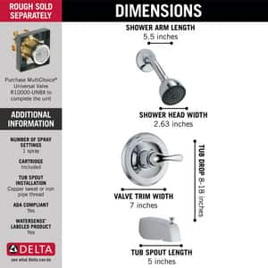 Delta Faucet Monitor® Tub and Shower Trim with Full Spray Showerhead (Trim Only) DT13420