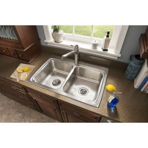 Elkay Gourmet® 2-Bowl Topmount Kitchen Sink Kit with Center Drain ELR3322