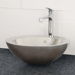 DECOLAV® Simin 15-1/2 in. Round Stainless Steel Above Counter Lavatory with Overflow D1228