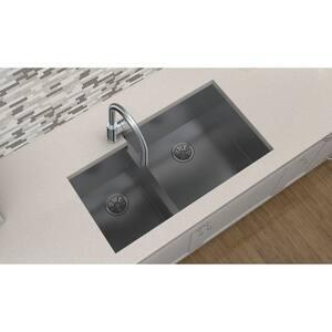 Elkay Crosstown™ 2-Bowl Undermount Kitchen Sink with Rear Center Drain in Polished Satin EEFU352010L