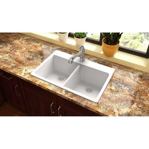 Elkay Quartz Classic 33 x 22 in. No-Hole Equal Double Bowl Top Mount Sink EELG33220