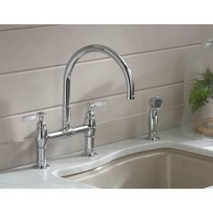 Kohler Parq® 1.5 gpm Double Lever Handle Deckmount Kitchen Sink Faucet 360 Degree Swivel High Arc Spout Gooseneck Spout 3/8 in. Compression Connection K61314