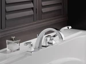 Delta Faucet Dryden™ 4-Hole Roman Tub Faucet with Hand Shower and Double Lever Handle Deckmount (Trim Only) DT4751