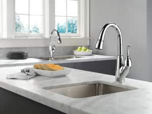 Delta Faucet Allora™ 2-Hole Pull-Down Prep or Bar Faucet with Single Lever Handle D999DST