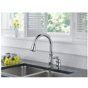 Delta Faucet Victorian® 1.8 gpm Single Lever Handle Deckmount Kitchen Sink  Faucet 360 Degree Swivel Pull-Down Spout 3/8 in. OD Connection in ...