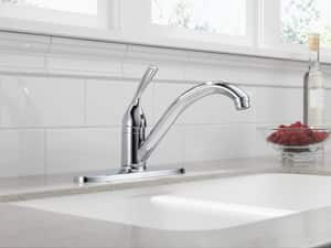 Delta Faucet Classic® 1.8 gpm Single Ball Handle Deckmount Kitchen Sink Faucet 180 Degree Swivel 3/8 in. Compression Connection D100DST