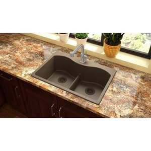 Elkay Harmony™ 33 x 22 in. No-Hole Equal Double Bowl Top Mount Sink with Aqua Divide EELGLB33220